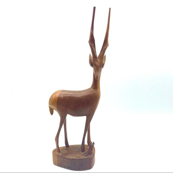 Vintage Carved Wood Elk Antelope Deer Figurine